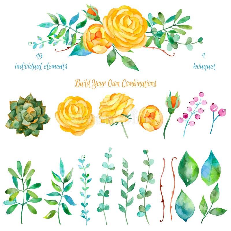 Färgrik blom- samling med blommor + 1 härliga bukett Uppsättning av blom- beståndsdelar för dina sammansättningar stock illustrationer