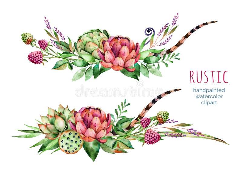 Färgrik blom- samling med kronärtskockan, blommor, sidor, fjädrar, suckulent växt royaltyfri illustrationer