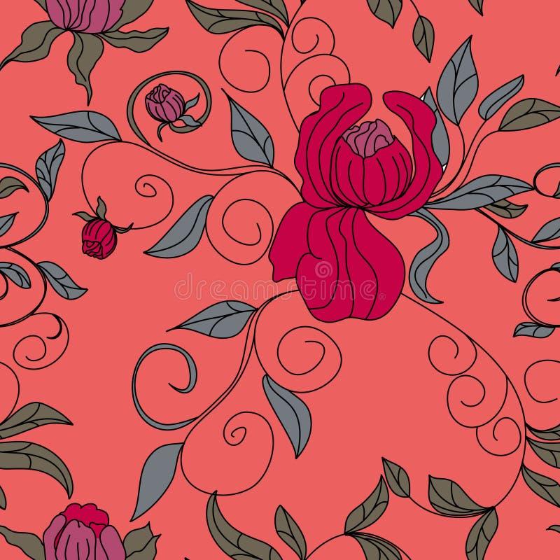 färgrik blom- seamless wallpaper vektor illustrationer