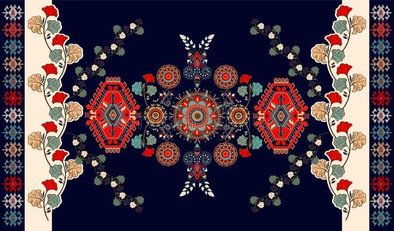 Färgrik blom- ungersk vektordesign för filten, handduk, matta, textil, tyg, räkning Blom- stiliserat dekorativt royaltyfri illustrationer