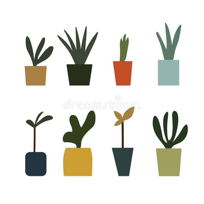 Färgrik blomkruka lagd in fastställd symbolsvektor för växter stock illustrationer