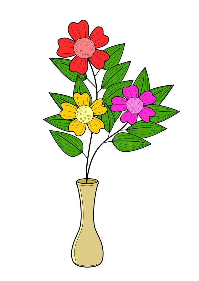 Färgrik blomma- och vasillustrationvektor vektor illustrationer