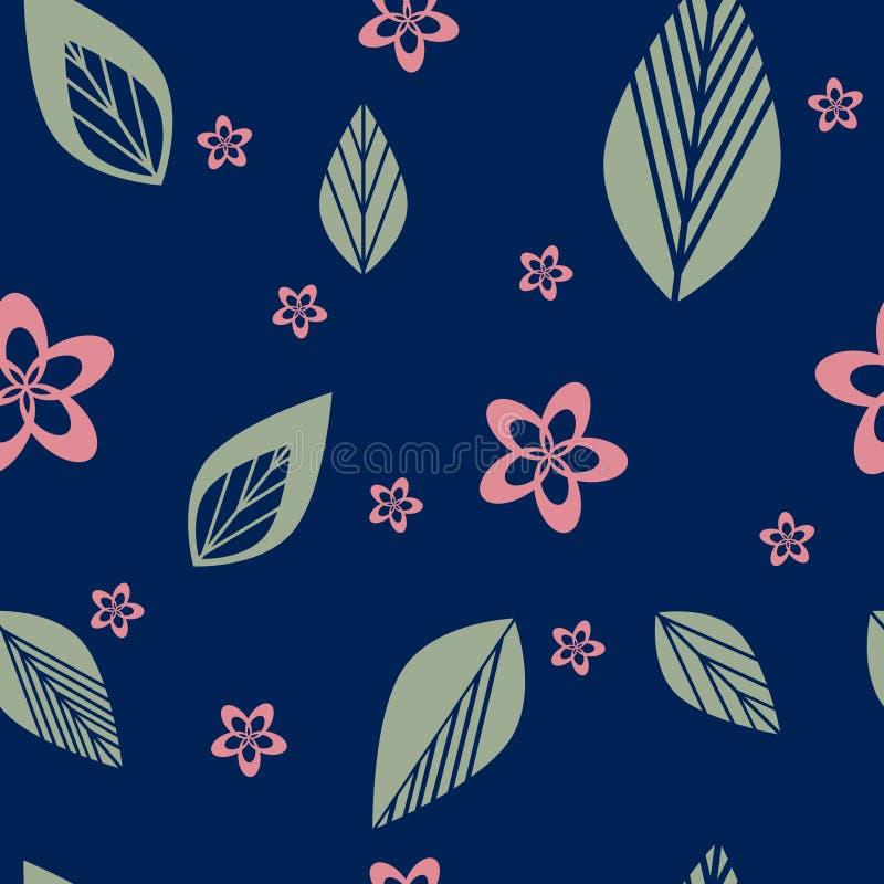 Färgrik blomma som är sömlös på marinblå bakgrundsvektor vektor illustrationer