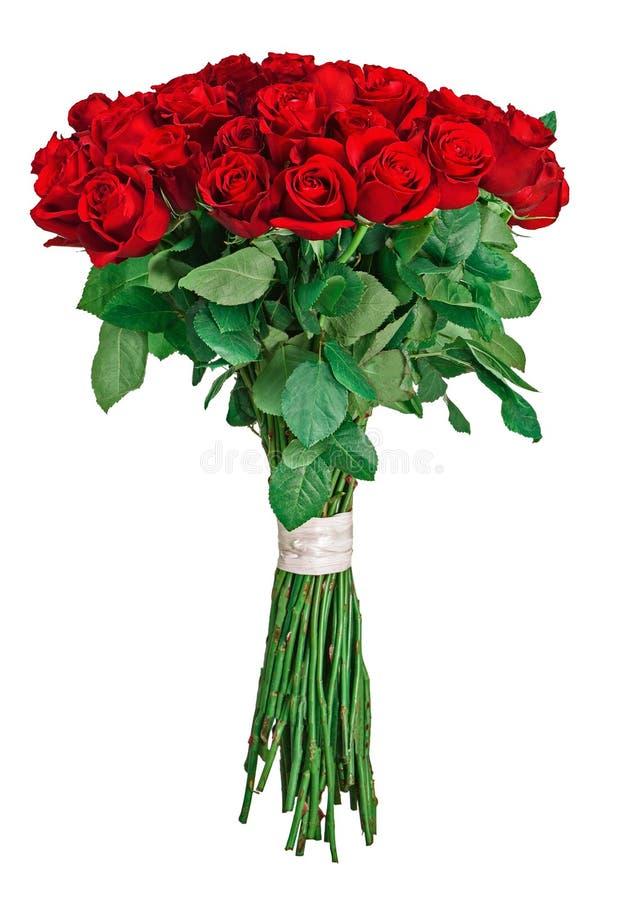 Färgrik blommabukett från röda ro som isoleras på vitbackgro fotografering för bildbyråer