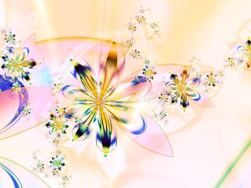 färgrik blommafractal för abstrakt bakgrund stock illustrationer