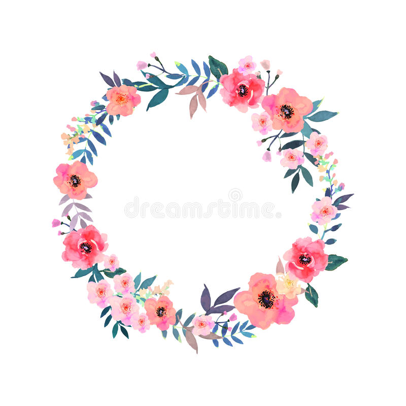 Färgrik blommakrans Elegant blom- samling vektor illustrationer