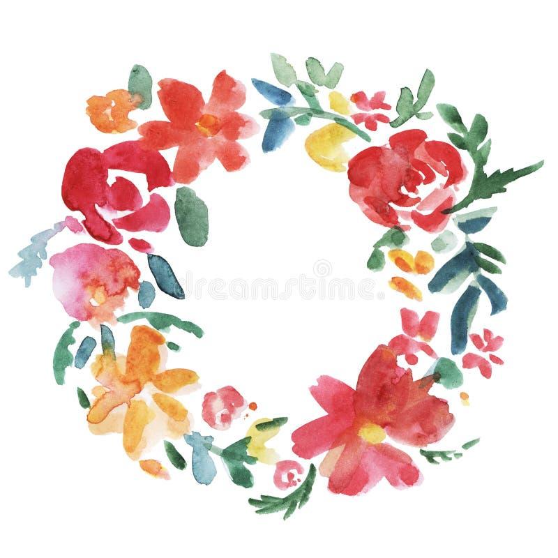 Färgrik blommakrans stock illustrationer