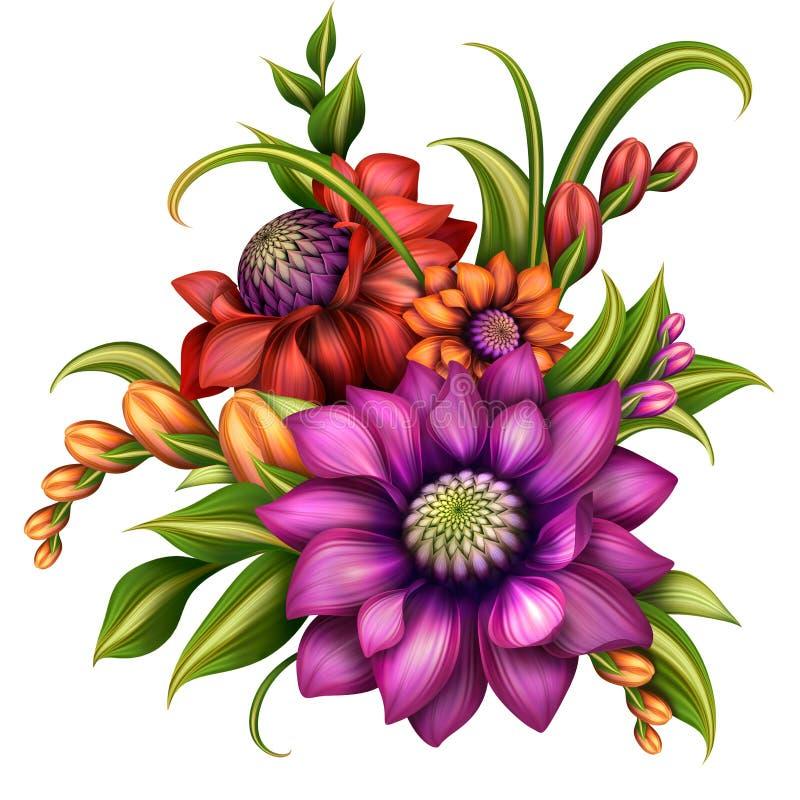 Färgrik blommaordning med gröna sidor stock illustrationer