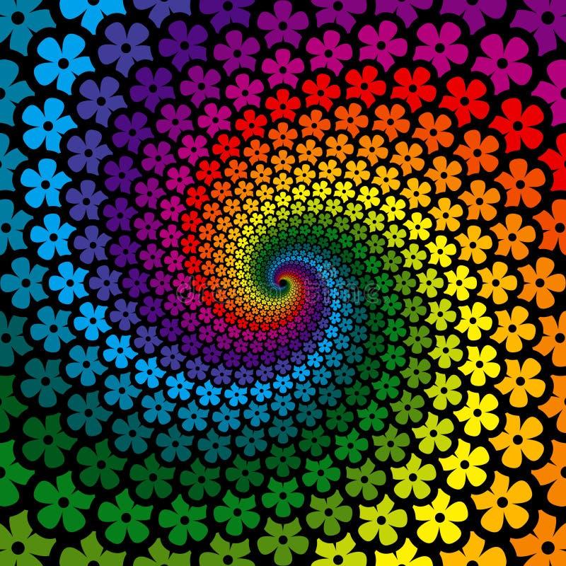 färgrik blommaspiral för bakgrund vektor illustrationer