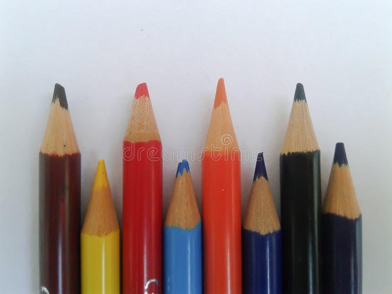 Färgrik blyertspennacloseup royaltyfri fotografi
