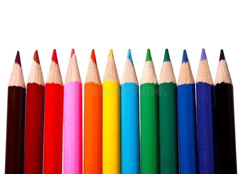 färgrik blyertspennavattenfärg för barn royaltyfria bilder