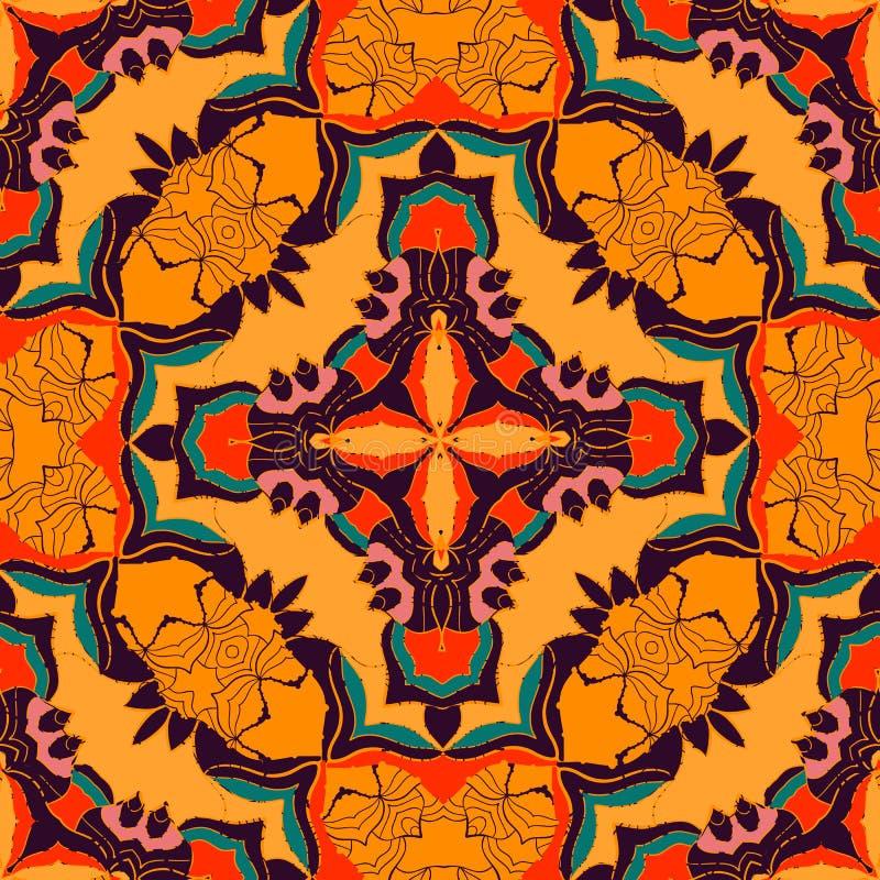 Färgrik bohemisk modell för vektor med den stiliserade abstrakta blomman i ljusa färger Chic bakgrund för geometrisk boho med stock illustrationer