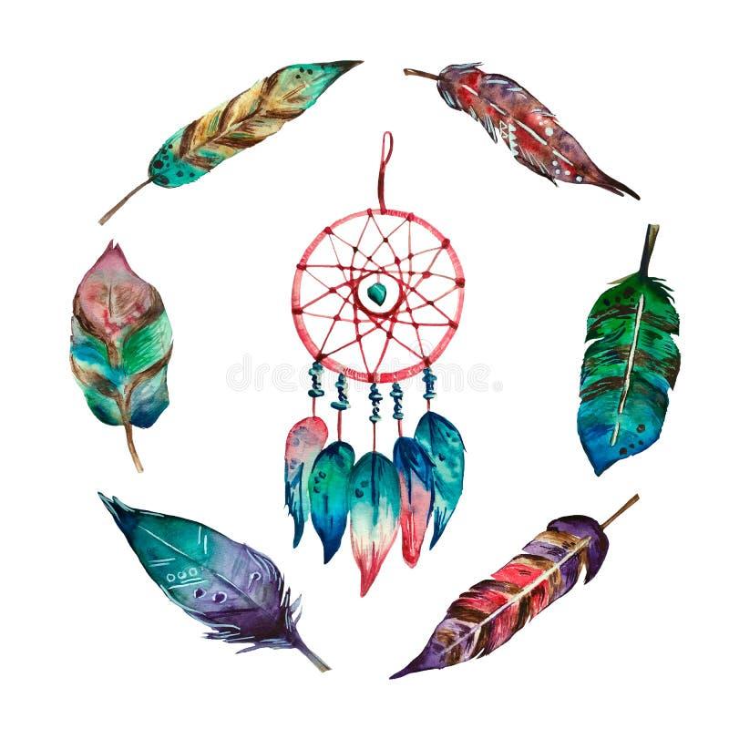 Färgrik bohosammansättning för vattenfärg av den dröm- stopparen och 6 fjädrar stock illustrationer