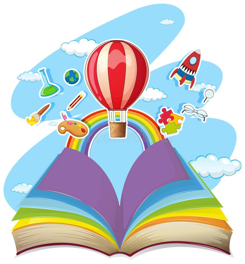 Färgrik bok med ballongen i himlen royaltyfri illustrationer