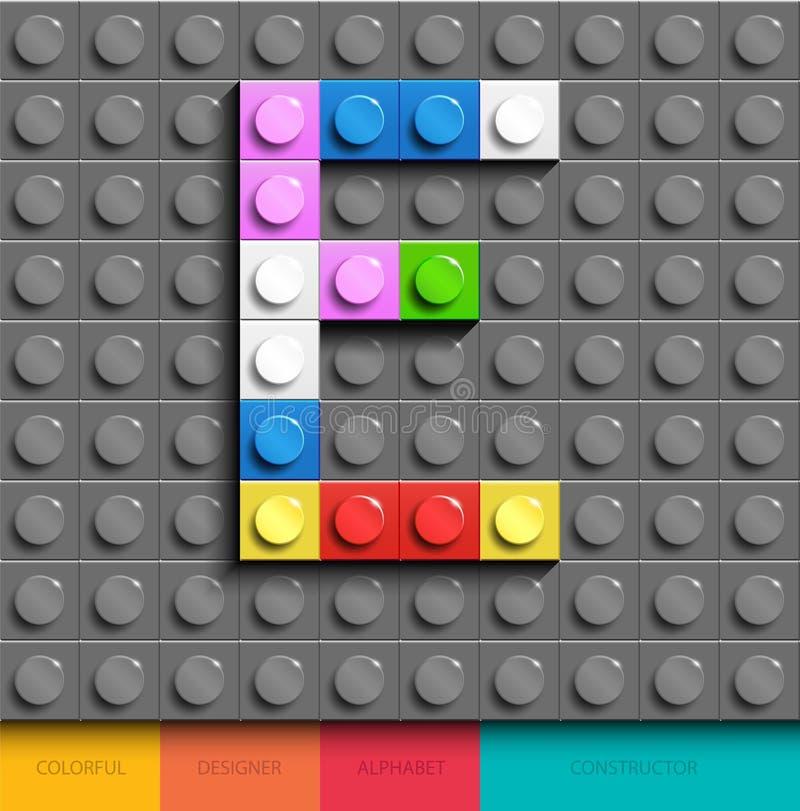 Färgrik bokstav E från byggnadslegotegelstenar på grå legobakgrund Lego bokstav M royaltyfri illustrationer