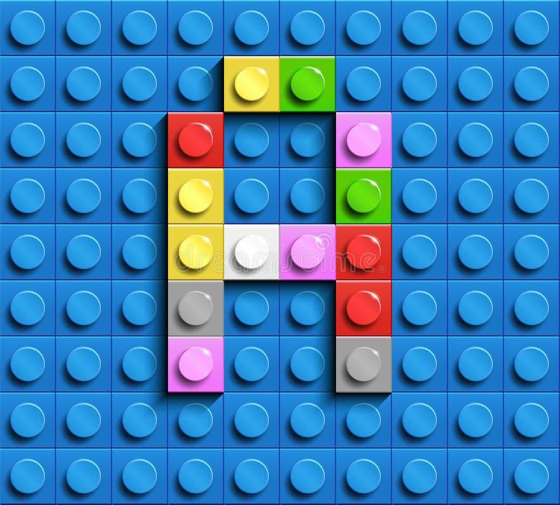 Färgrik bokstav A från byggnadslegotegelstenar på blå legobakgrund Lego bokstav M stock illustrationer