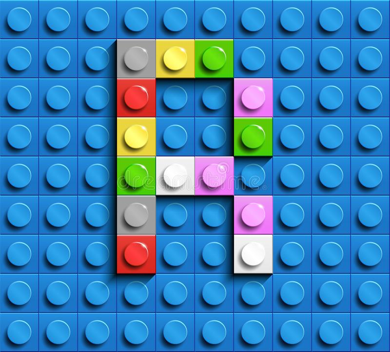 Färgrik bokstav R från byggnadslegotegelstenar på blå legobakgrund Lego bokstav M royaltyfri illustrationer