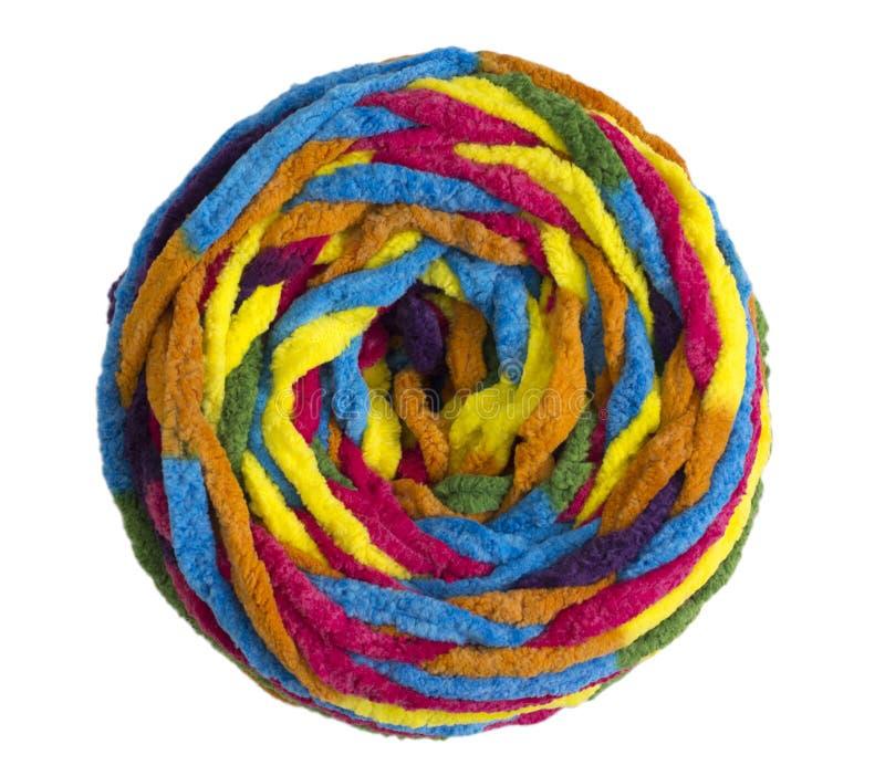 Färgrik boll av woolen garn royaltyfria foton