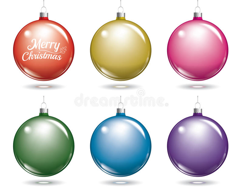 färgrik bolljul Uppsättning av den isolerade flerfärgade bollen stock illustrationer
