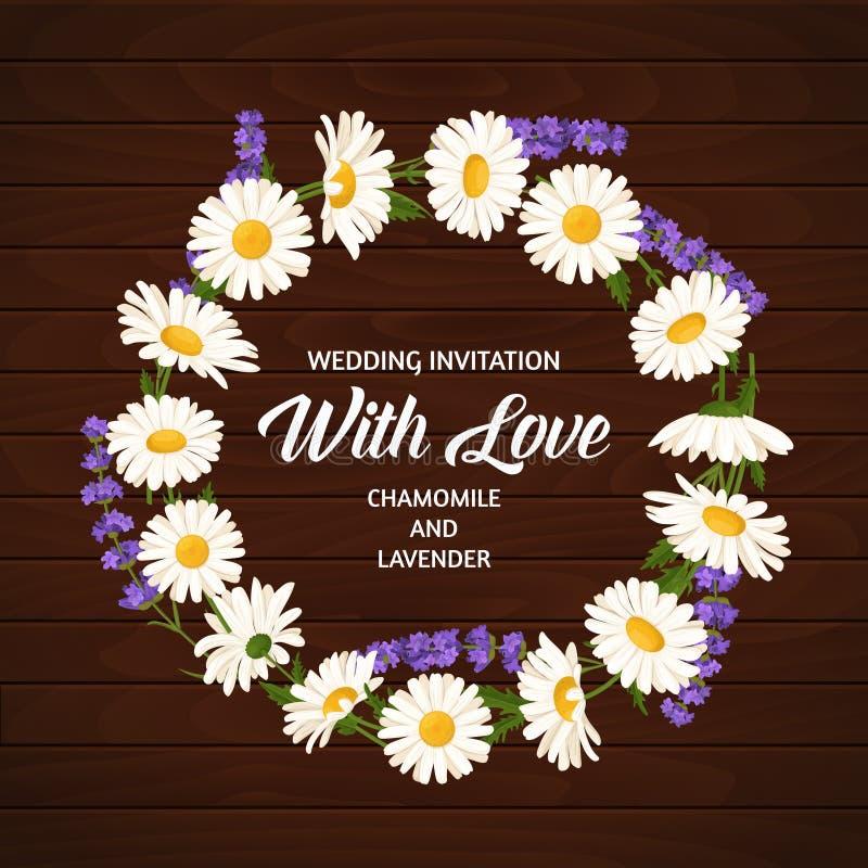 Färgrik bröllopkrans med lavendel och kamomill Blom- samling för vektor arkivbilder