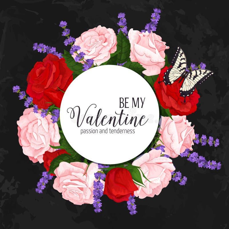 Färgrik bröllopkrans med rosor, kamomill och lavendel Blom- samling för vektor arkivfoton