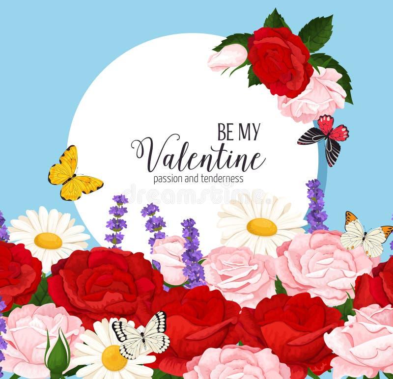 Färgrik bröllopkrans med rosor, kamomill och lavendel Blom- samling för vektor arkivfoto