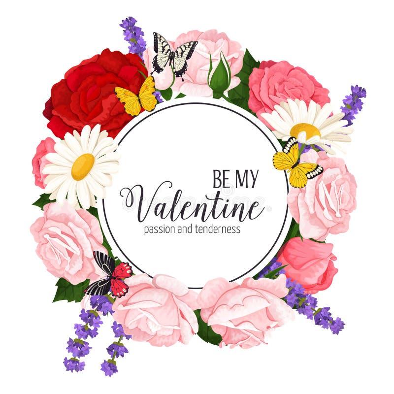 Färgrik bröllopkrans med rosor, kamomill och lavendel Blom- samling för vektor royaltyfri foto
