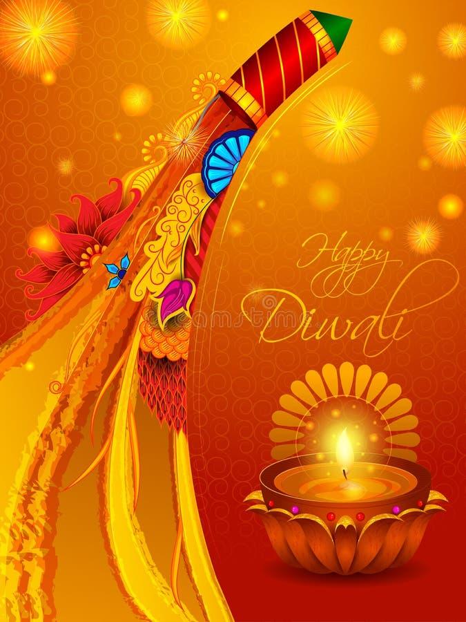 Färgrik brandsmällare med den dekorerade diyaen för lycklig beröm för Diwali festivalferie av Indien hälsningbakgrund royaltyfri illustrationer