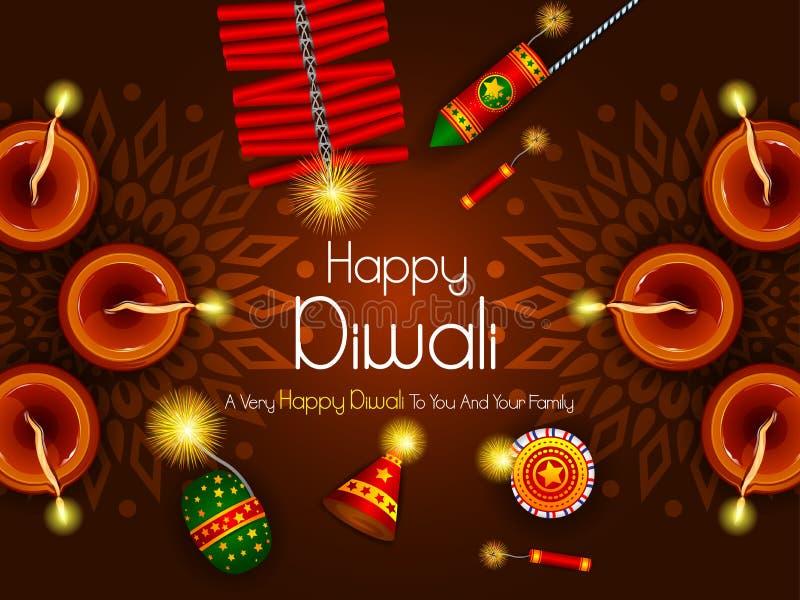 Färgrik brandsmällare med den dekorerade diyaen för lycklig beröm för Diwali festivalferie av Indien hälsningbakgrund vektor illustrationer