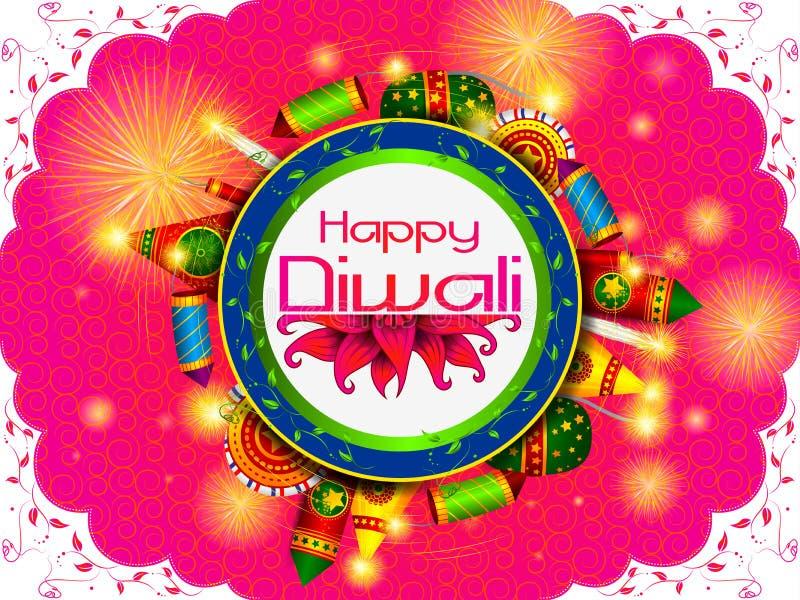 Färgrik brandsmällare med den dekorerade diyaen för lycklig beröm för Diwali festivalferie av Indien hälsningbakgrund stock illustrationer