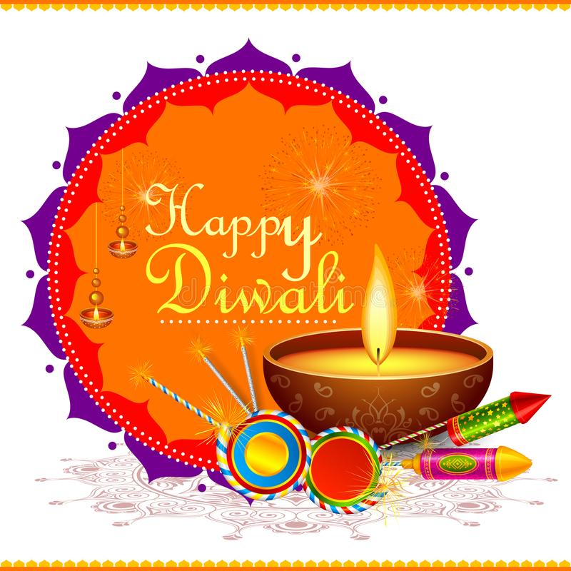 Färgrik brandsmällare med den dekorerade diyaen för den lyckliga Diwali festivalen vektor illustrationer