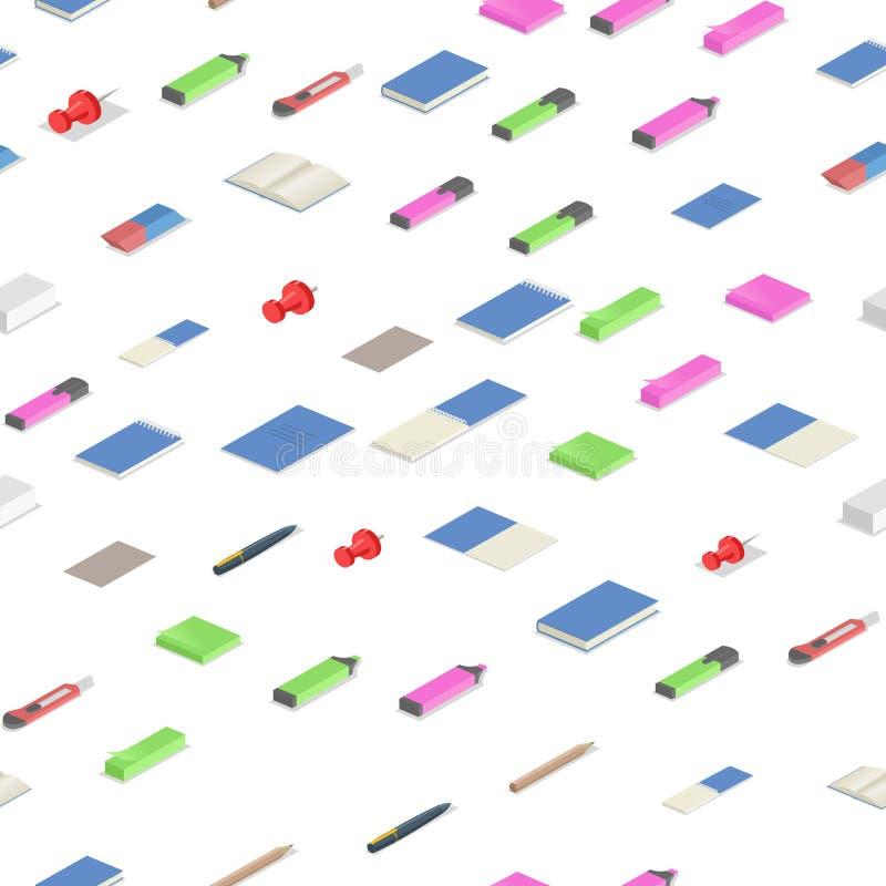 Färgrik brevpapper levererar den isometriska sömlösa modellen Färgrik plan isometrisk vektorillustration Isolerat på vit stock illustrationer