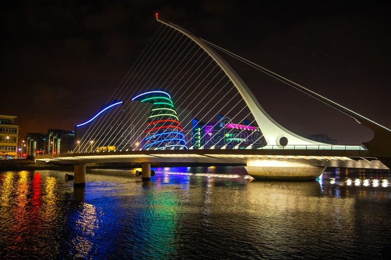 Färgrik bro med reflekterande vatten arkivbild
