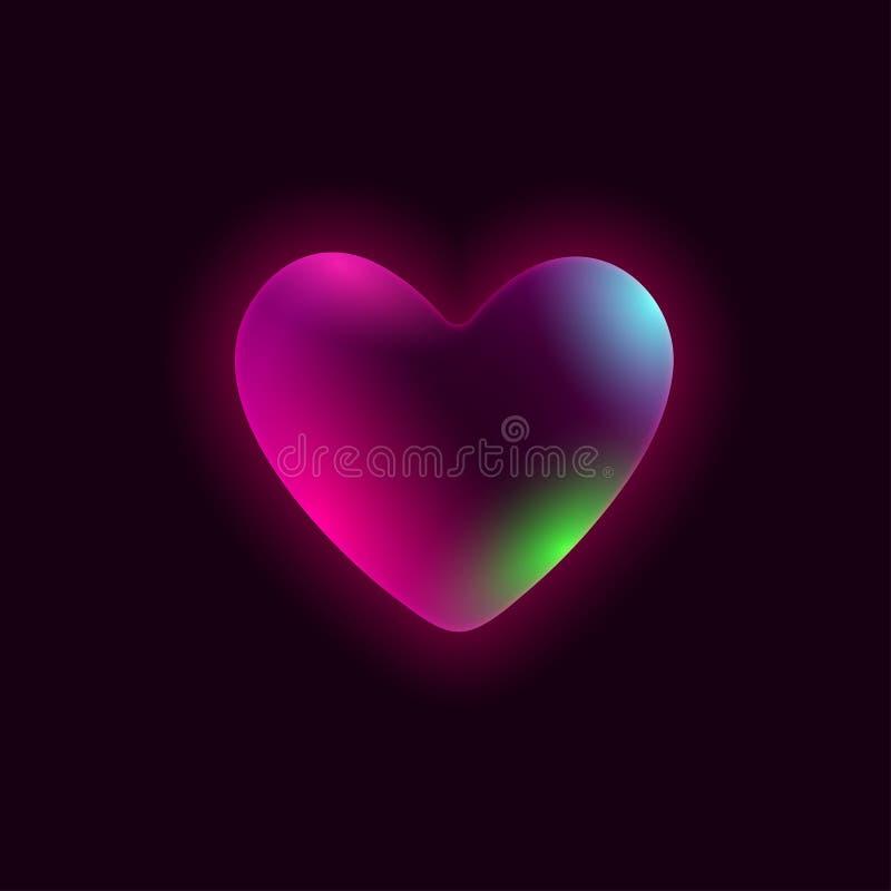 Färgrik bubblahjärta på en svart bakgrund stock illustrationer