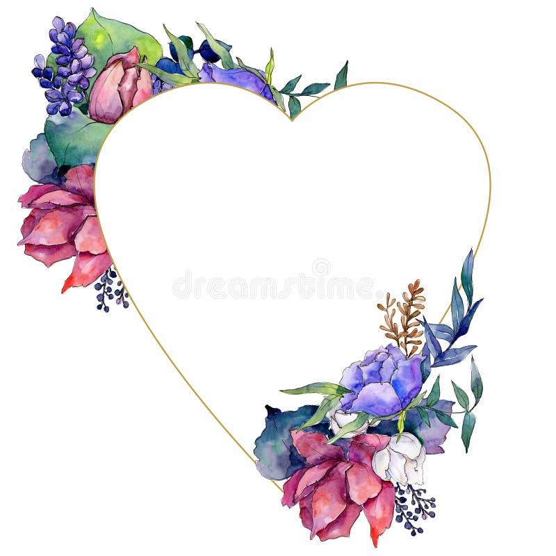 Färgrik bukett för vattenfärg av blandningblommor Blom- botanisk blomma Fyrkant för ramgränsprydnad stock illustrationer