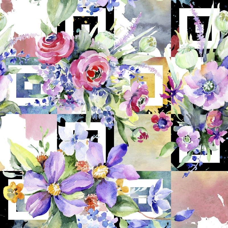 färgrik bukett Seamless bakgrund mönstrar Textur för tygtapettryck stock illustrationer