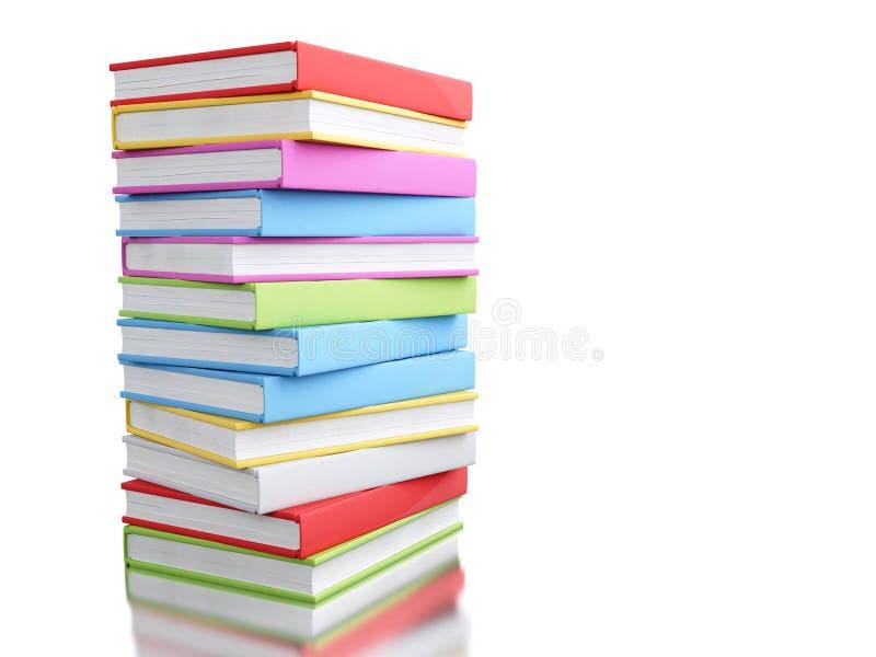 färgrik bunt 3d av böcker stock illustrationer
