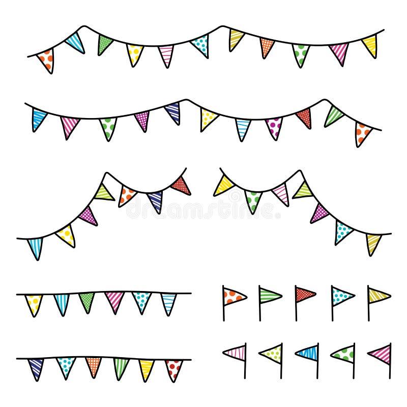 Färgrik bunting för vektorteckningsklotter, flaggatriangeluppsättning stock illustrationer