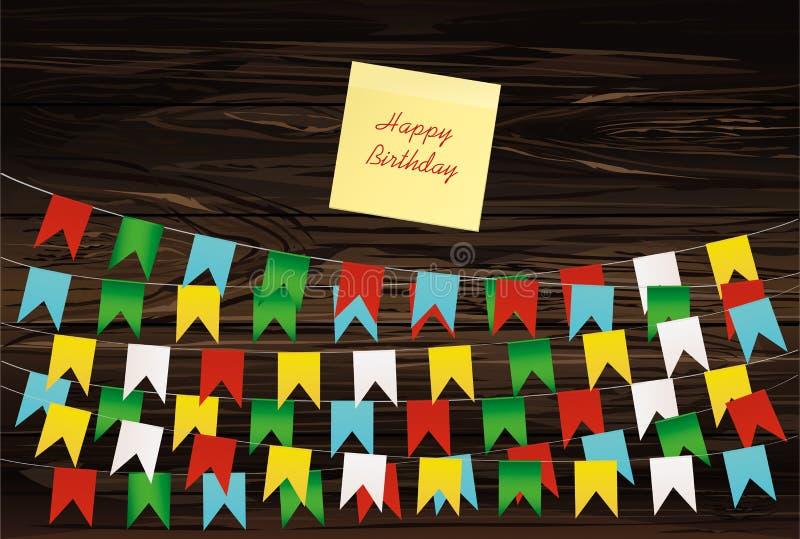 Färgrik bunting- och girlanduppsättning Gult ark av papper för anmärkning stock illustrationer