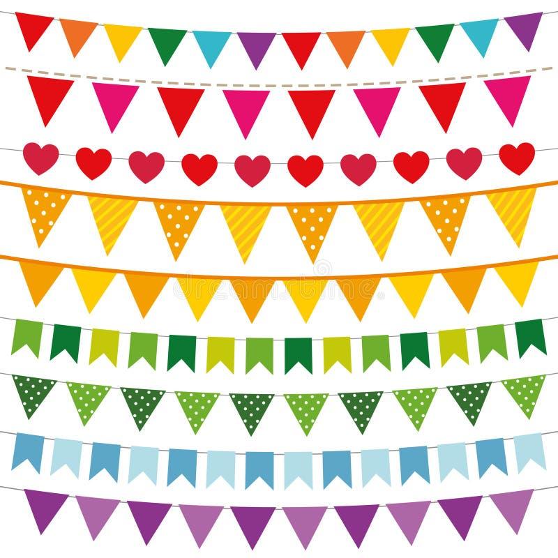Färgrik buntingflaggauppsättning vektor illustrationer