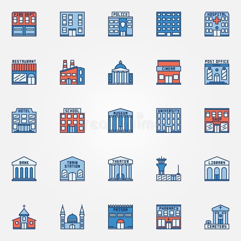 Färgrik byggnadssymbolsuppsättning royaltyfri illustrationer