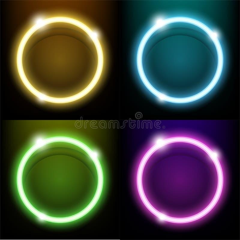 Färgrik cirkel för cirkel för neonljus royaltyfri illustrationer