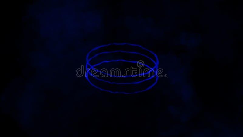 Färgrik cirkelenergilinje med rök på isolerad svart bakgrund Texturbest?ndsdel royaltyfri illustrationer