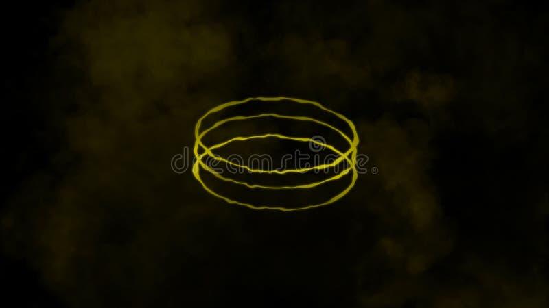 Färgrik cirkelenergilinje med rök på isolerad svart bakgrund stock illustrationer
