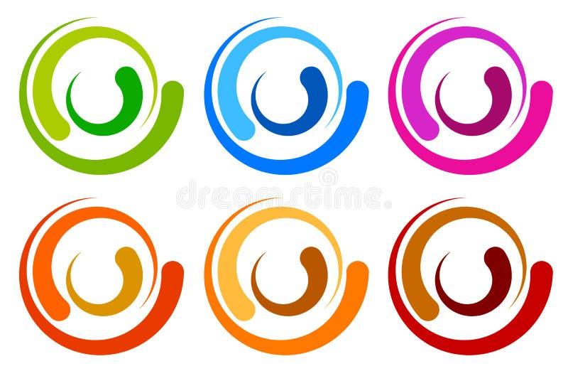 Färgrik cirkellogo, symbolsmallar koncentrisk segmenterad circl vektor illustrationer
