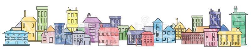 färgrik cityscape stock illustrationer