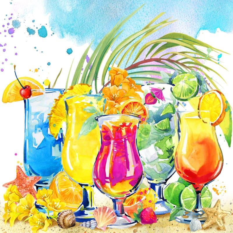 färgrik coctail Hand dragen vattenfärgillustration av coctailfrukt och tropisk sidabakgrund vektor illustrationer