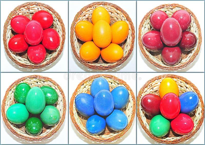 Färgrik collage för påskägg arkivbild