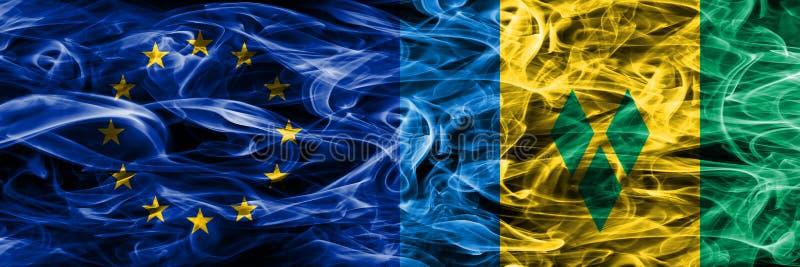 Färgrik conce för Europa union och Saint Vincent och Grenadinerna stock illustrationer