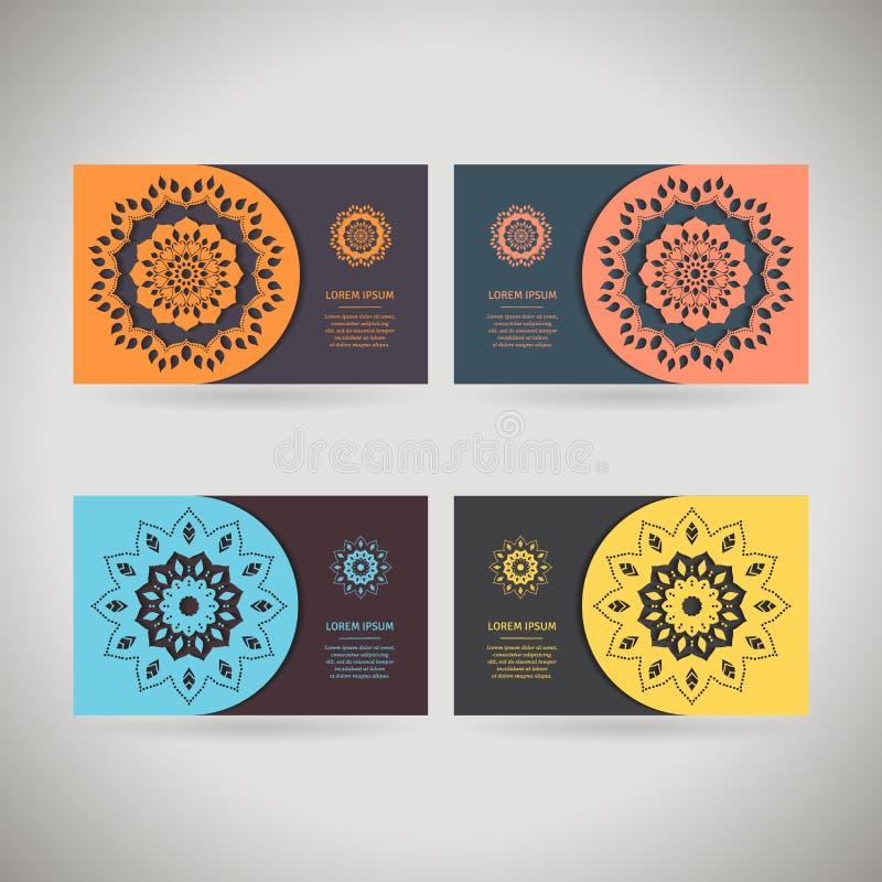 Färgrik dekorativ mall för affärskort, reklamblad eller baner stock illustrationer